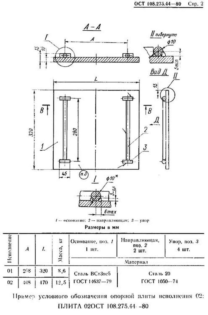 Плиты опорные ОСТ 108.275.44-80 стр.2