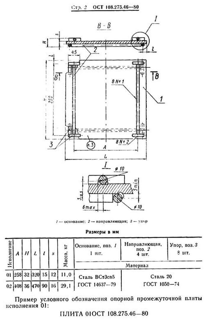Плиты опорные промежуточные ОСТ 108.275.46-80 стр.2