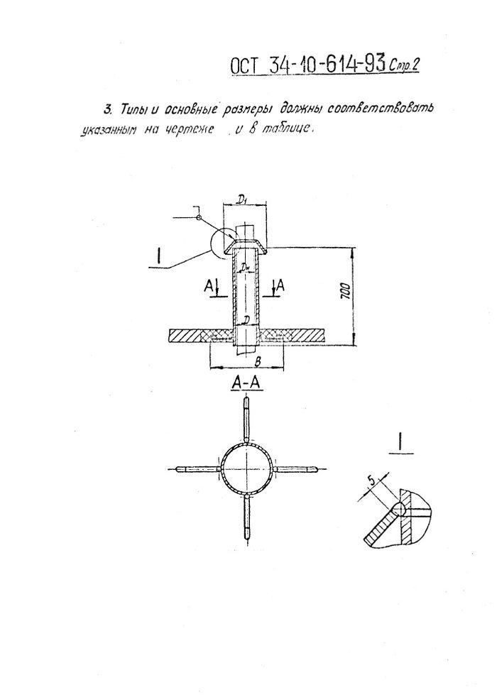 Втулки с колпаком для прохода через крышу ОСТ 34-10-614-93 стр.2