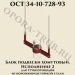 Блок подвески хомутовый исполнение 2 для трубопроводов из корозионностойкой стали ОСТ 34-10-728-93
