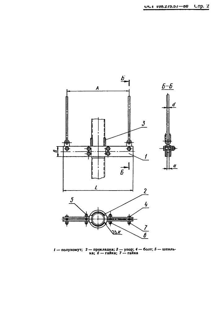Блоки хомутовые для подвесок вертикальных трубопроводов ОСТ 108.275.57-80 стр.2