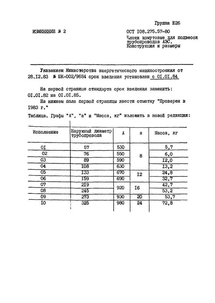 Блоки хомутовые для подвесок вертикальных трубопроводов ОСТ 108.275.57-80 стр.6