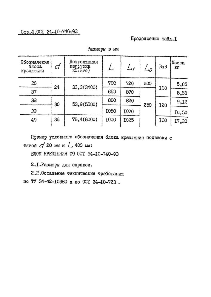 Блоки крепления подвесок ОСТ 34-10-740-93 стр.4