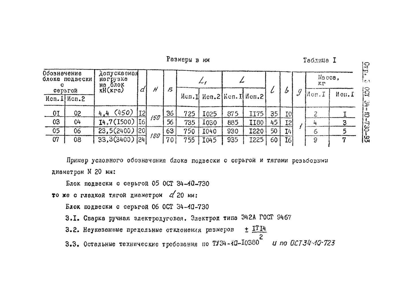 Блоки подвесок с серьгой ОСТ 34-10-730-93 стр.3