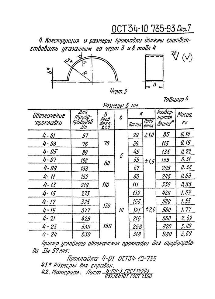 Хомуты для горизонтальных трубопроводов ОСТ 34-10-735-93 стр.7