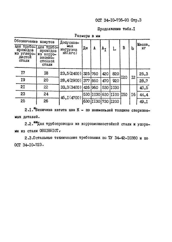 Хомуты для вертикальных трубопроводов ОСТ 34-10-736-93 стр.3