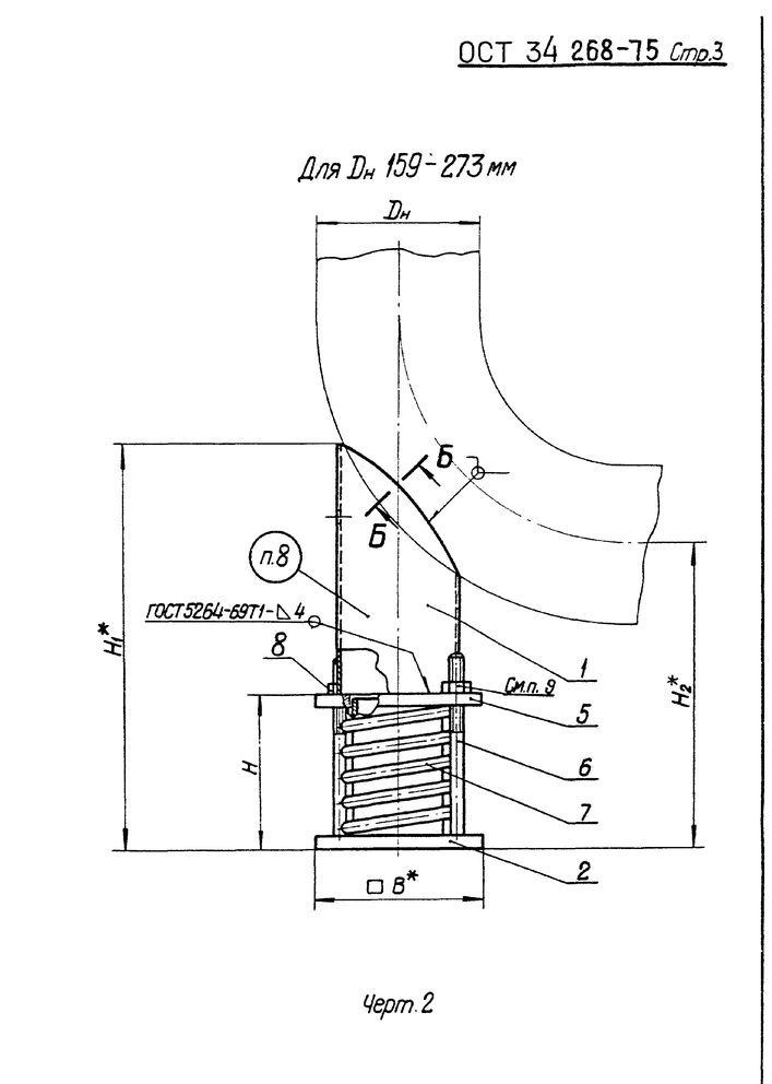 Опоры пружинные крутоизогнутых отводов ОСТ 34 268-75 стр.3
