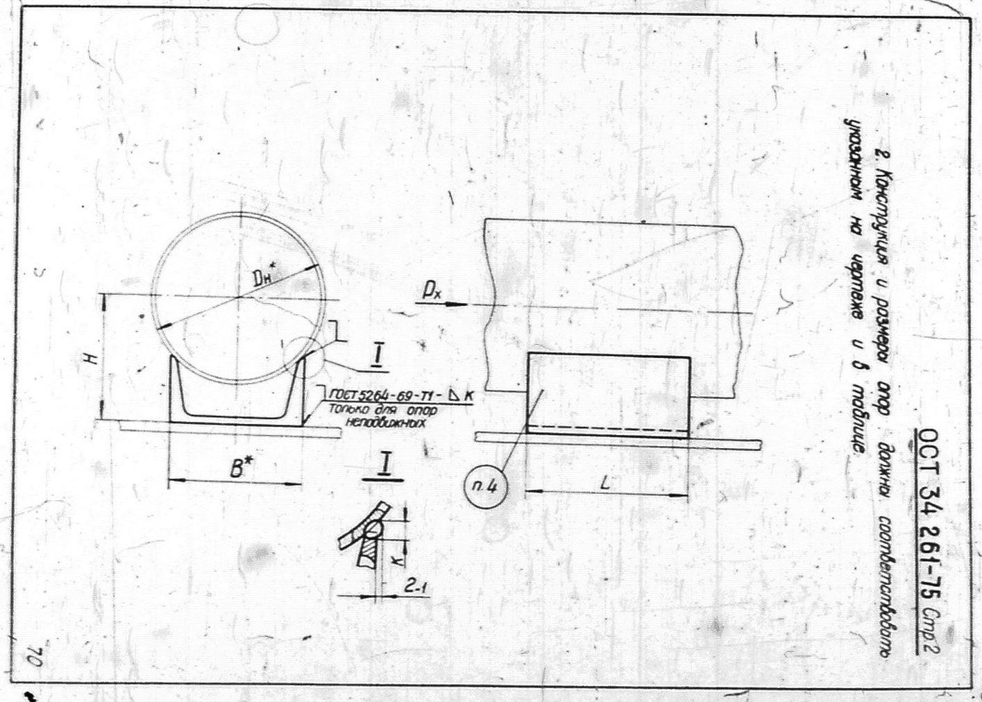 Опоры скользящие и неподвижные Дн 89 - 820 мм ОСТ 34 261-75 стр.2