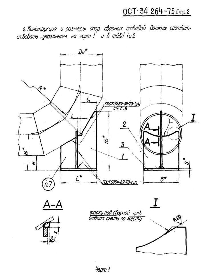 Опоры сварных отводов Дн 108 - 630 мм ОСТ 34 264-75 стр.2