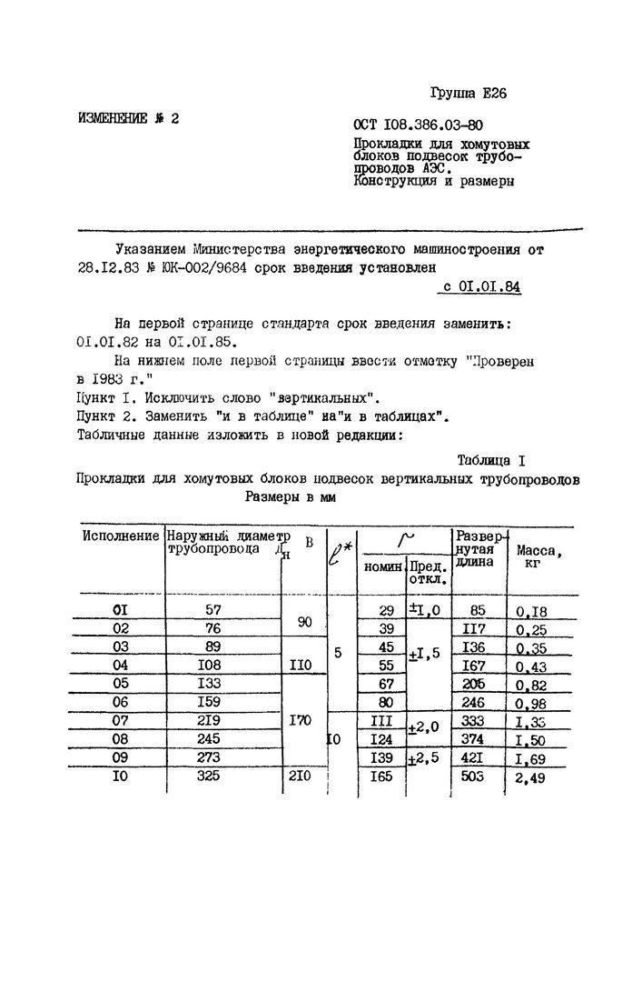 Прокладки для хомутовых блоков подвесок вертикальных трубопроводов ОСТ 108.386.03-80 стр.3