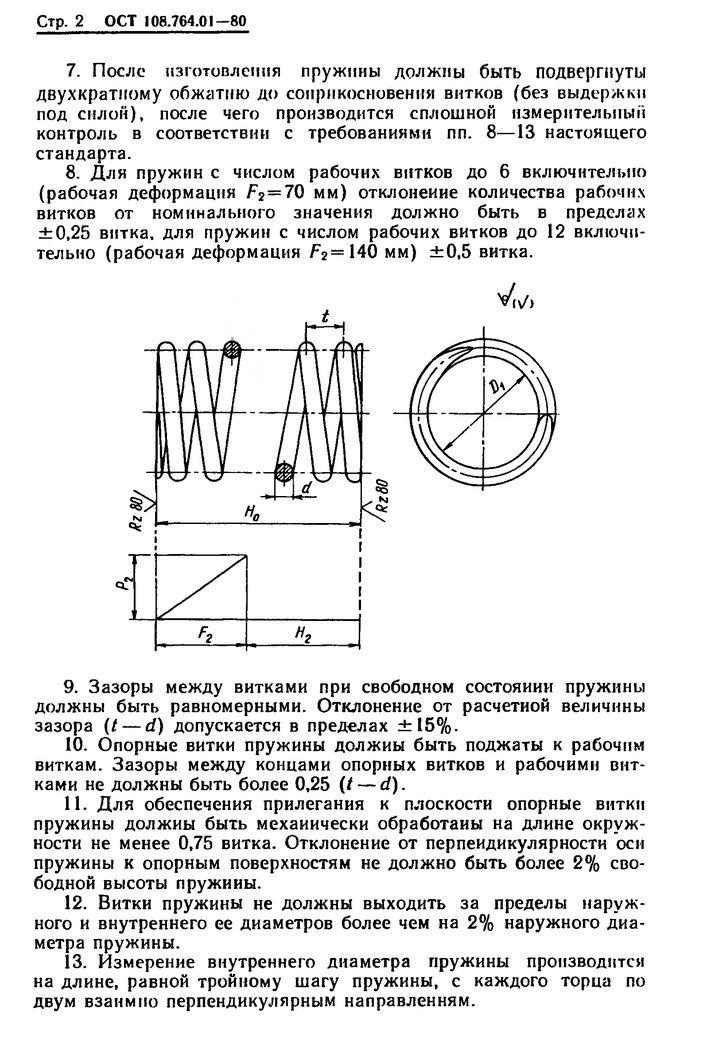 Пружины винтовые цилиндрические ОСТ 108.764.01-80 стр.2