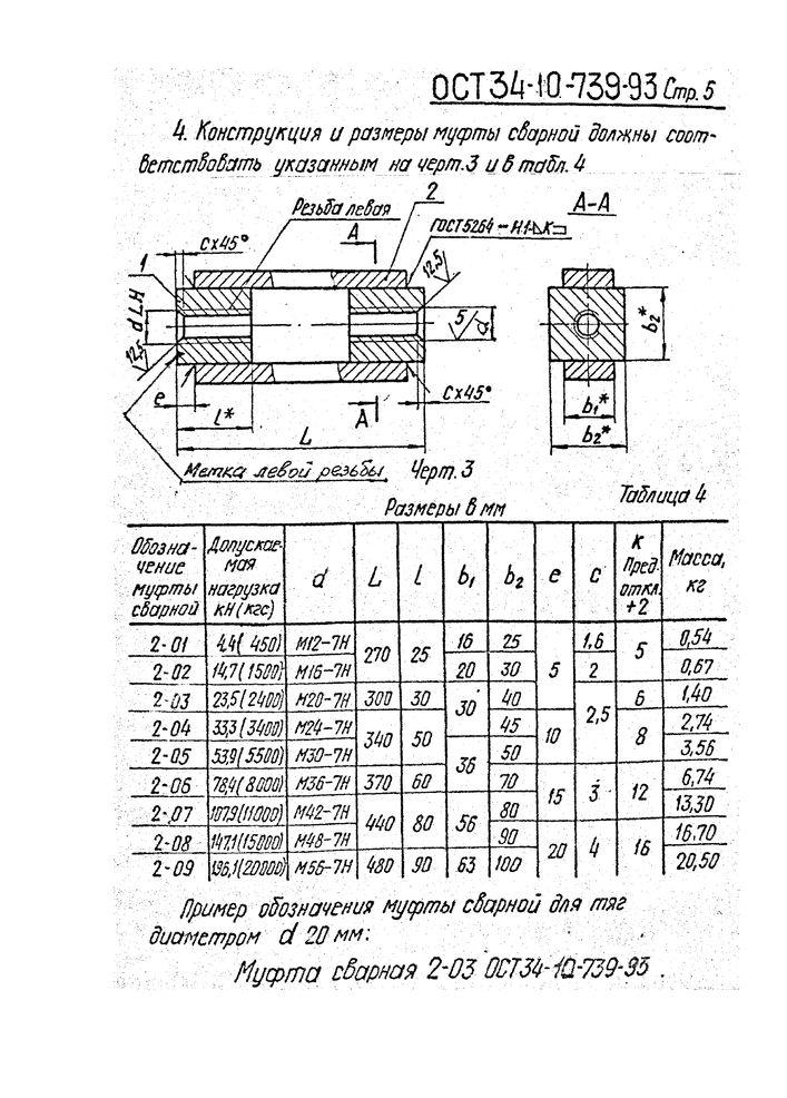 Тяги резьбовые с муфтой ОСТ 34-10-739-93 стр.5