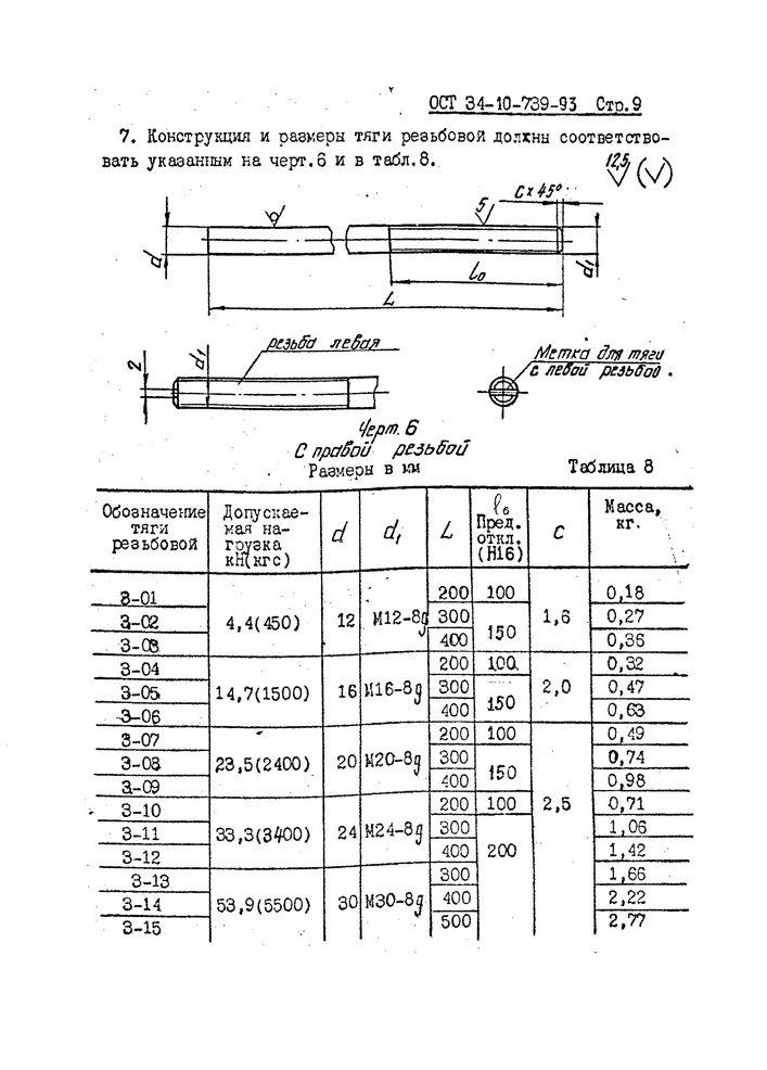 Тяги резьбовые с муфтой ОСТ 34-10-739-93 стр.9