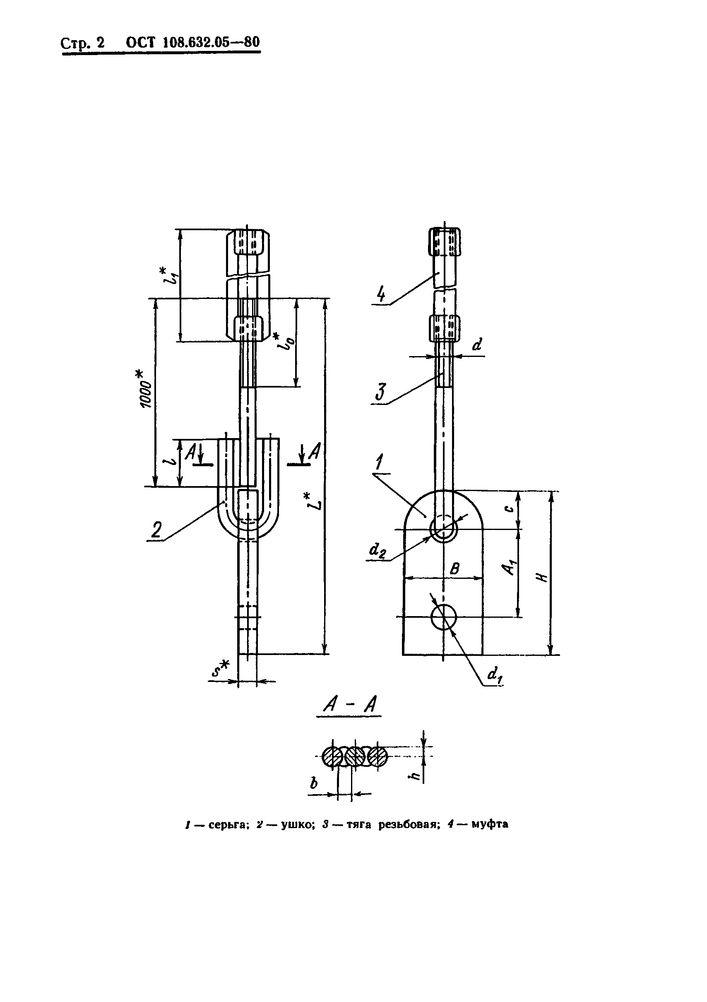 Тяги резьбовые с серьгой и муфтой ОСТ 108.632.05-80 стр.2