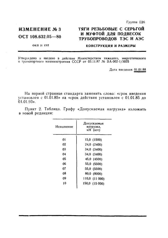 Тяги резьбовые с серьгой и муфтой ОСТ 108.632.05-80 стр.8