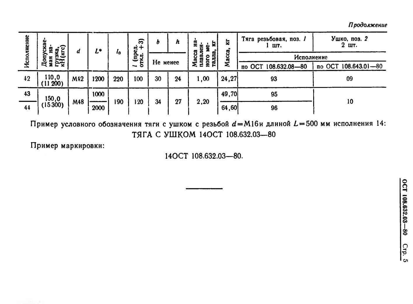 Тяги резьбовые с ушком ОСТ 108.632.03-80 стр.5