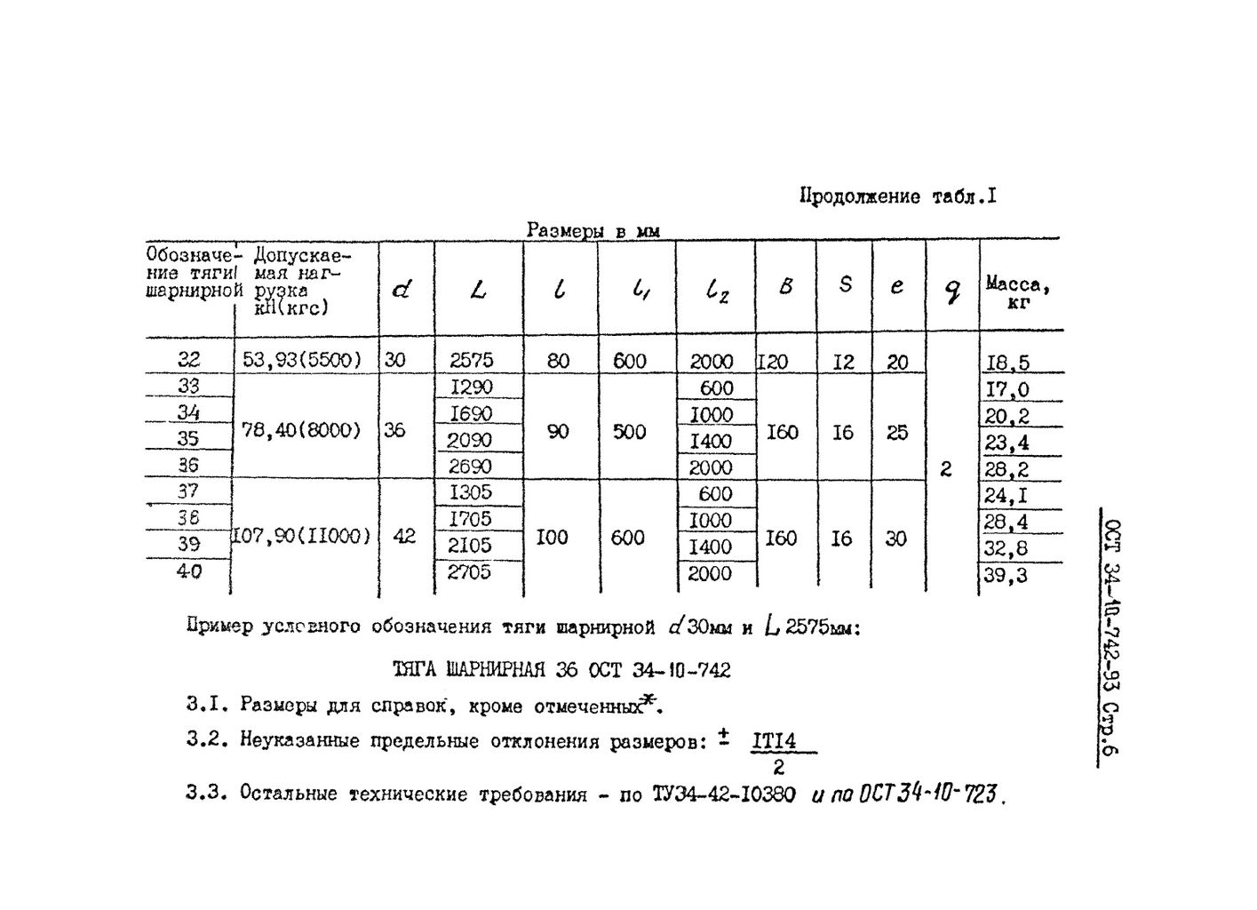 Тяги шарнирные ОСТ 34-10-742-93 стр.6