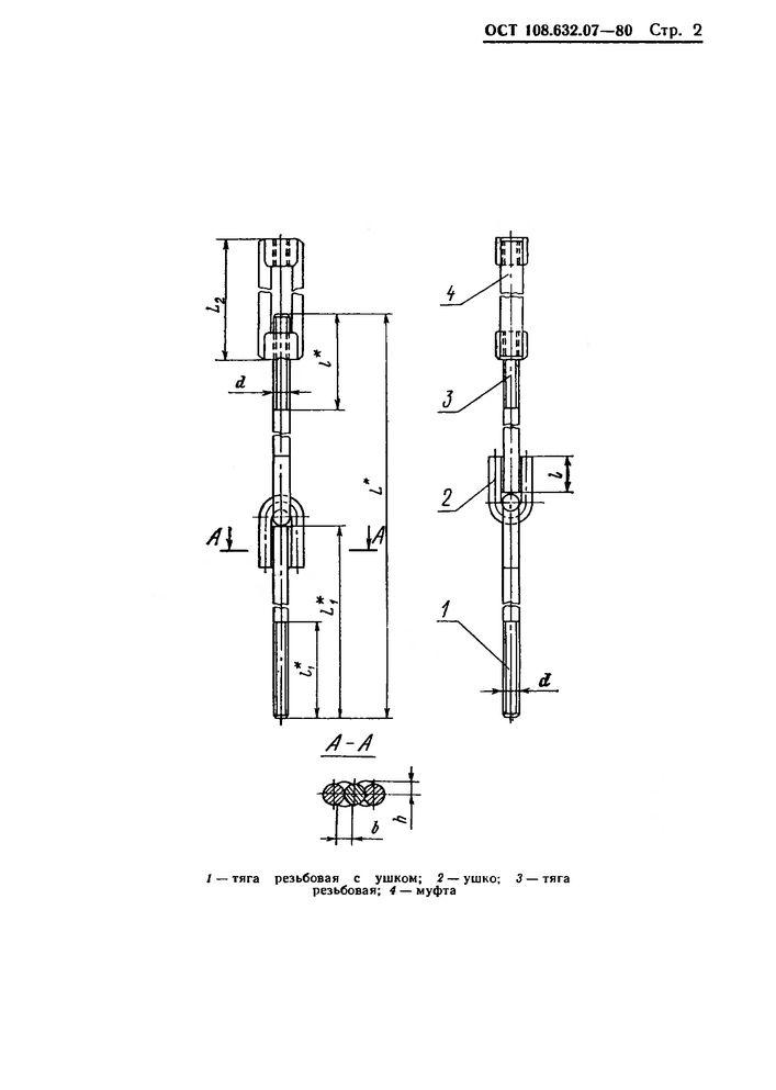 Тяги шарнирные резьбовые с муфтой ОСТ 108.632.07-80 стр.2