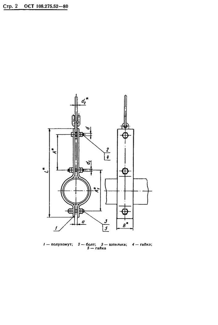 Блоки хомутовые для горизонтальных трубопроводов ОСТ 108.275.52-80 стр.2