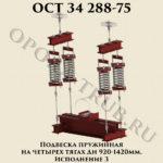 Подвеска пружинная на четырех тягах Дн 920 - 1420 мм. Исполнение 3 ОСТ 34 288-75