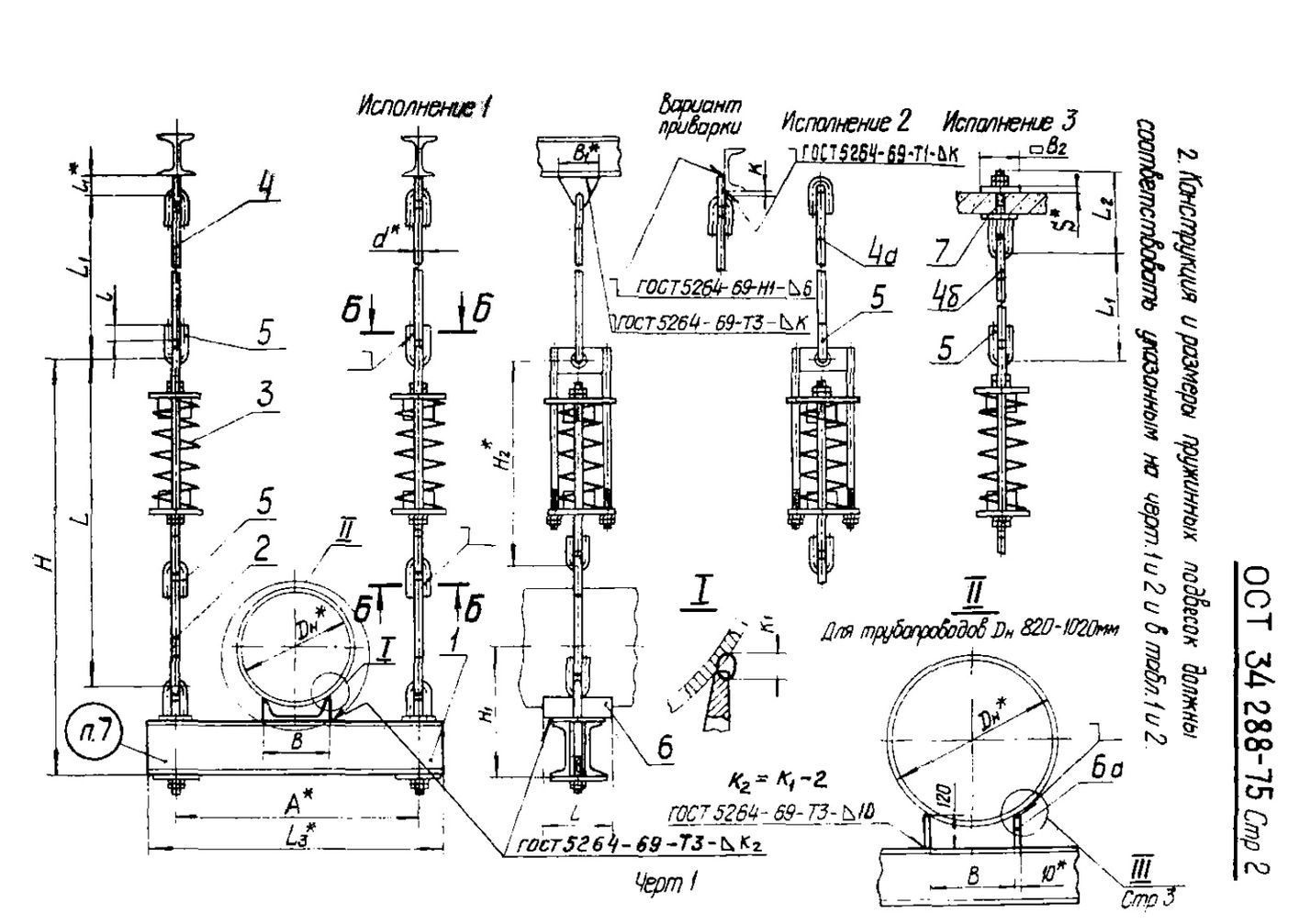Подвески пружинные на двух и четырех тягах ОСТ 34 288-75 стр.2