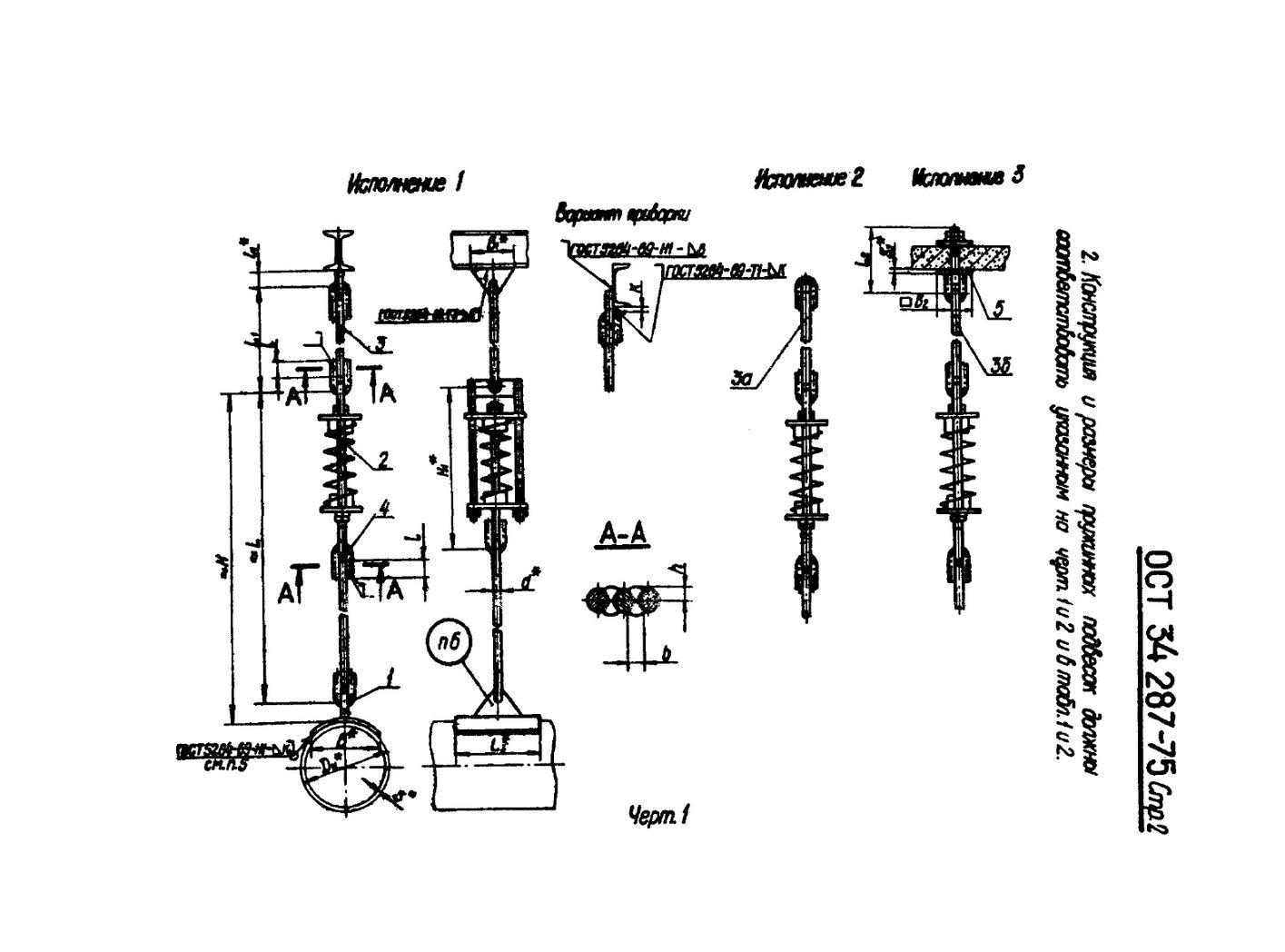 Подвески пружинные на одной тяге ОСТ 34 287-75 стр.2