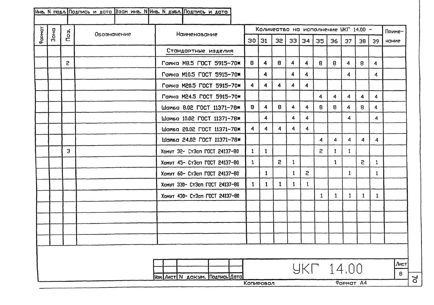 Крепление 2х (двух) вспомогательных газопроводов к основному УКГ 14.00 СБ серия 5.905-18.05 выпуск 1 стр.11
