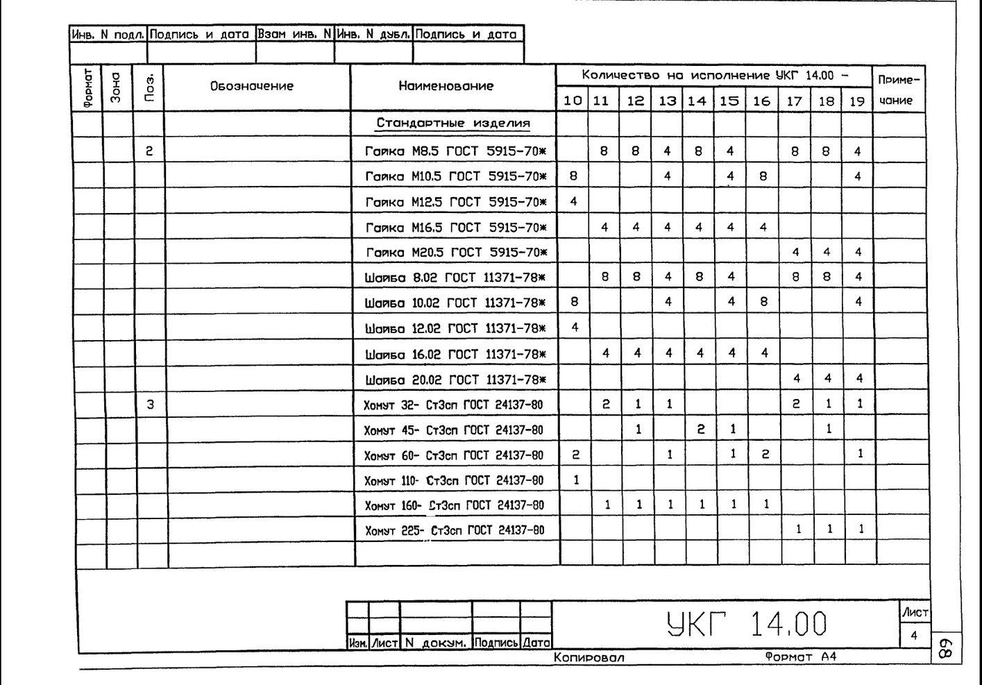 Крепление 2х (двух) вспомогательных газопроводов к основному УКГ 14.00 СБ серия 5.905-18.05 выпуск 1 стр.7