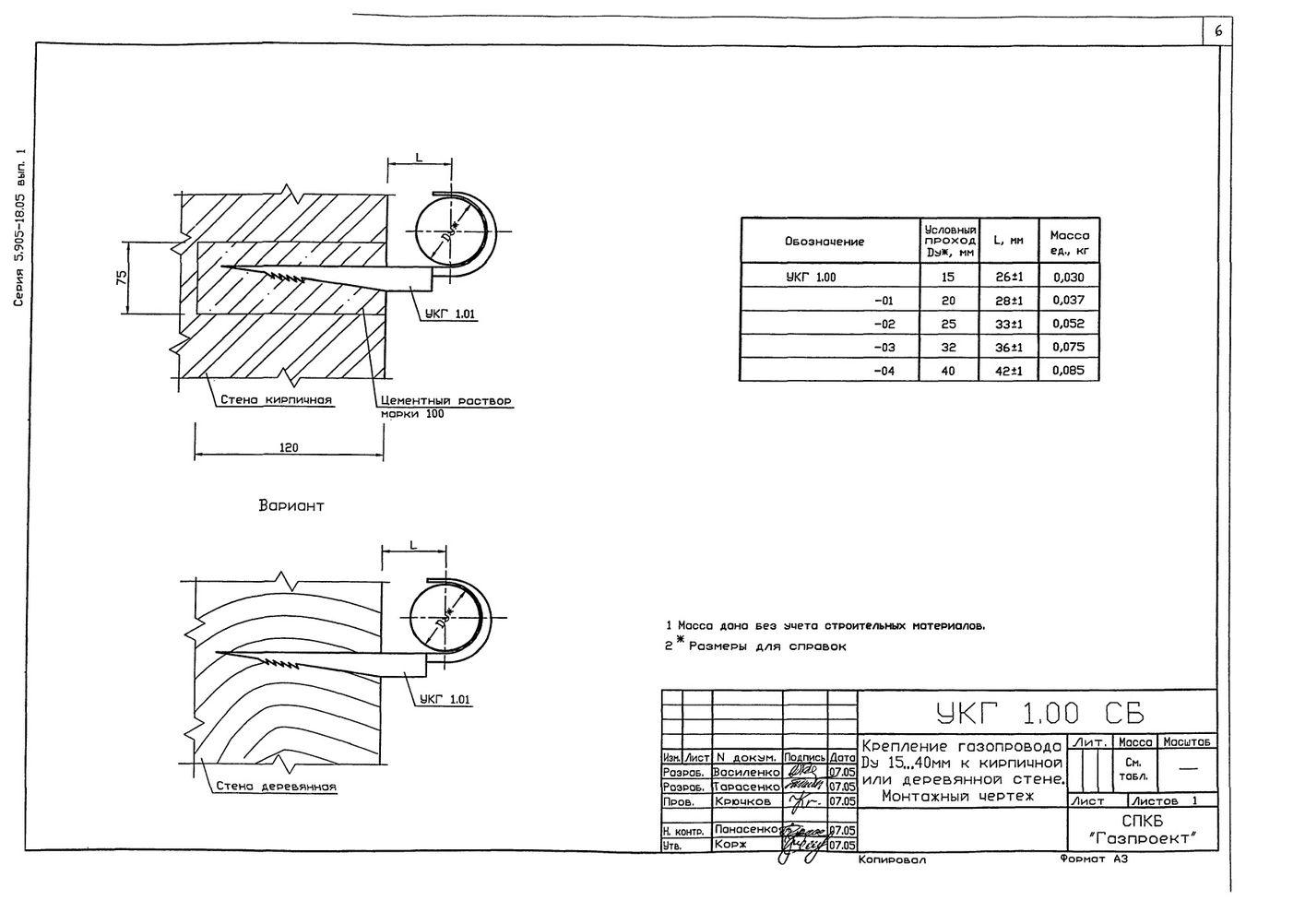 Крепление газопровода Ду 15...40 мм к кирпичной стене УКГ 1.00 СБ серия 5.905-18.05 выпуск 1 стр.1