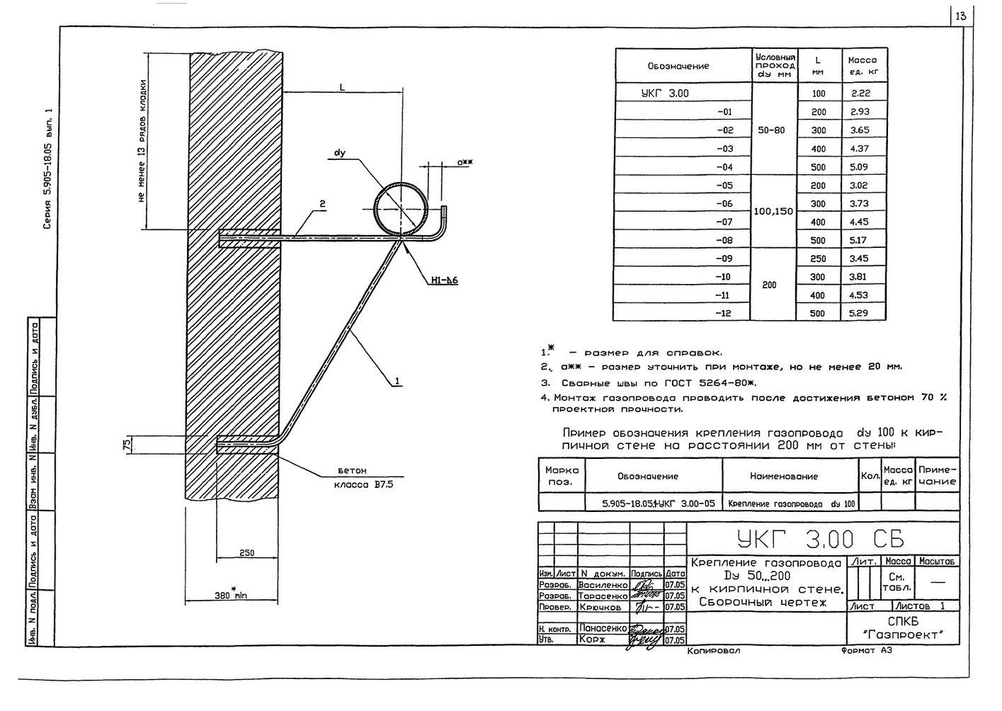 Крепление газопровода Ду 50...200 мм к кирпичной стене УКГ 3.00 СБ серия 5.905-18.05 выпуск 1 стр.1