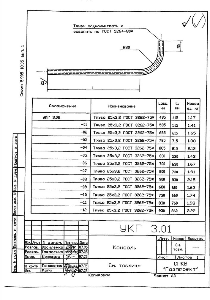 Крепление газопровода Ду 50...200 мм к кирпичной стене УКГ 3.00 СБ серия 5.905-18.05 выпуск 1 стр.4