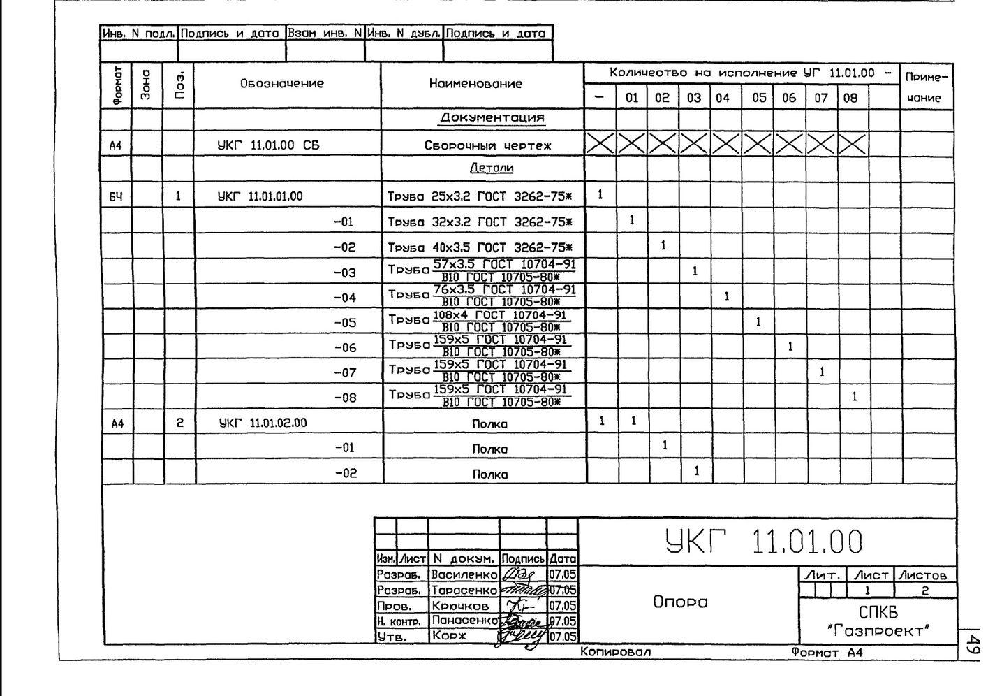 Крепление газопровода на опоре из труб УКГ 11.00 СБ серия 5.905-18.05 выпуск 1 стр.7