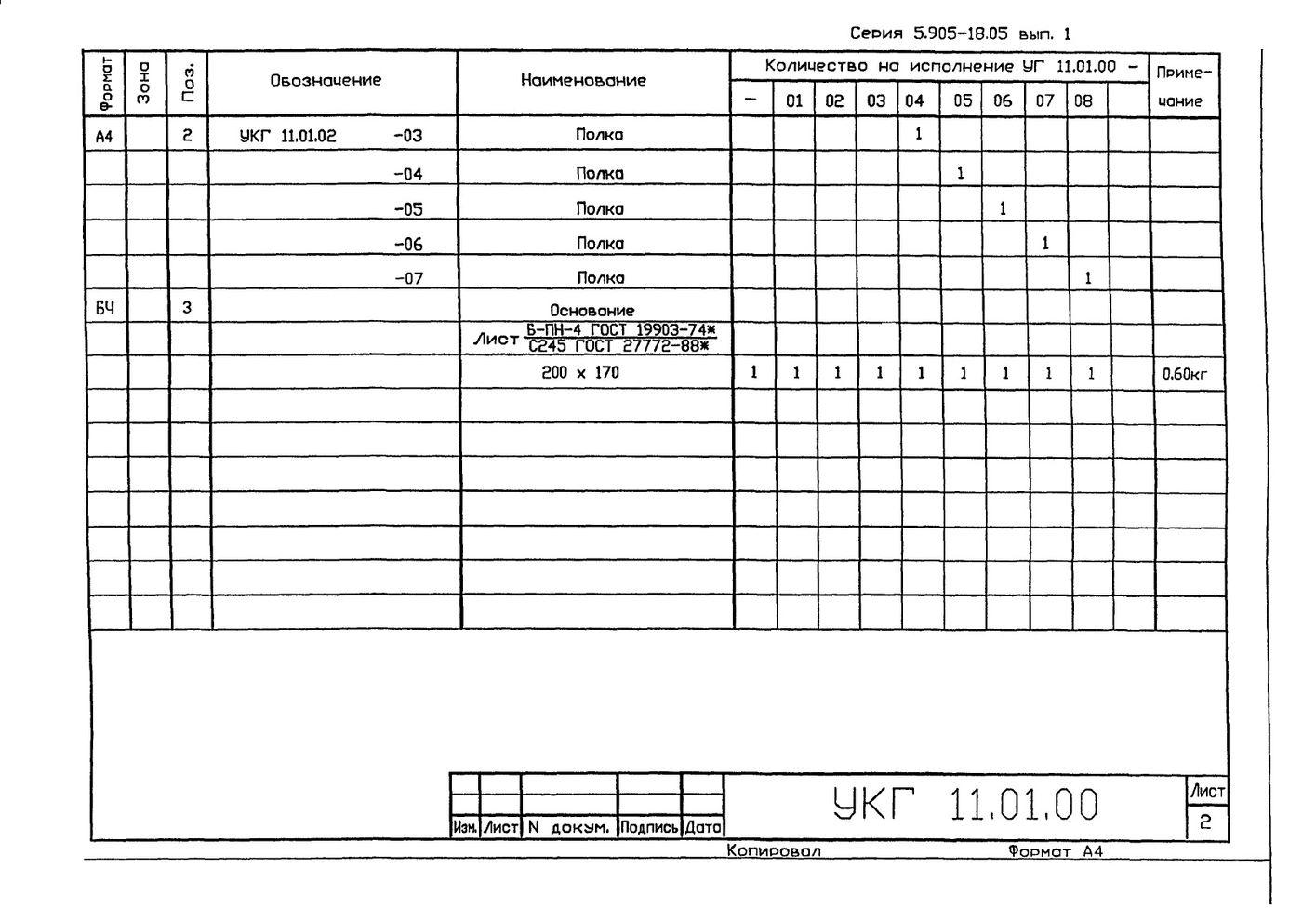 Крепление газопровода на опоре из труб УКГ 11.00 СБ серия 5.905-18.05 выпуск 1 стр.8
