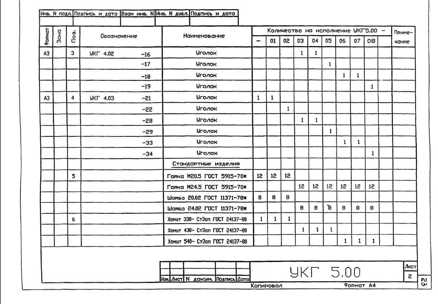 Крепление горизонтального газопровода Ду 300...500 мм к железобетонной колонне УКГ 5.00 СБ серия 5.905-18.05 выпуск 1 стр.3