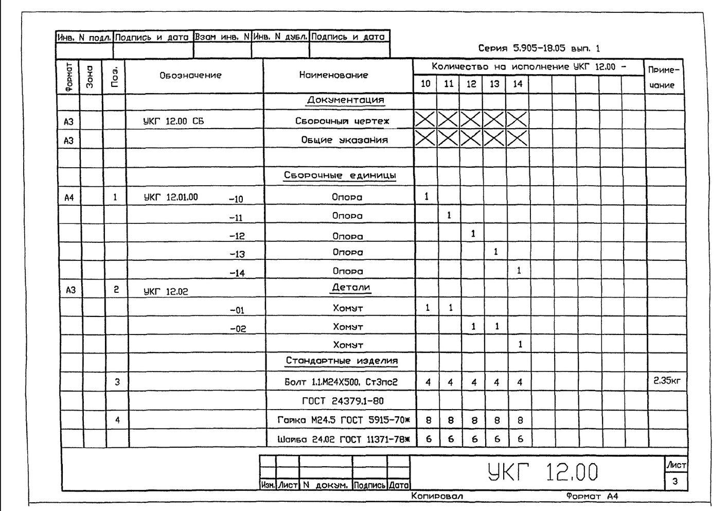 Крепление горизонтального газопровода Ду 250…1000 мм на отдельно стоящей опое УКГ 12.00 СБ серия 5.905-18.05 выпуск 1 стр.4