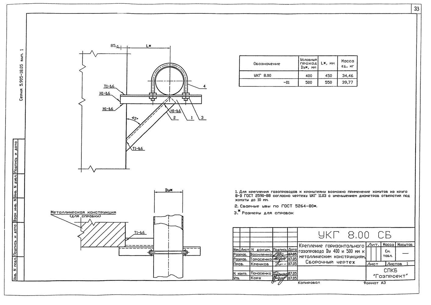 Крепление горизонтального газопровода Ду 400 и 500 мм к металлическим конструкциям УКГ 8.00 СБ серия 5.905-18.05 выпуск 1 стр.1