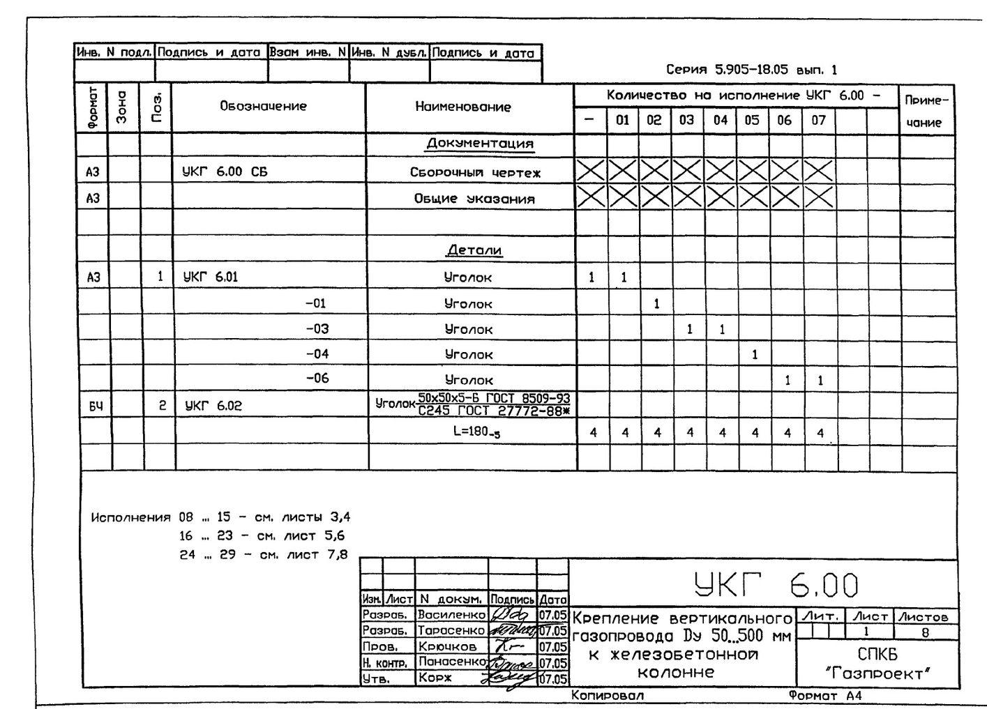 Крепление вертикального газопровода Ду 50...500 мм к железобетонной колонне УКГ 6.00 СБ серия 5.905-18.05 выпуск 1 стр.2