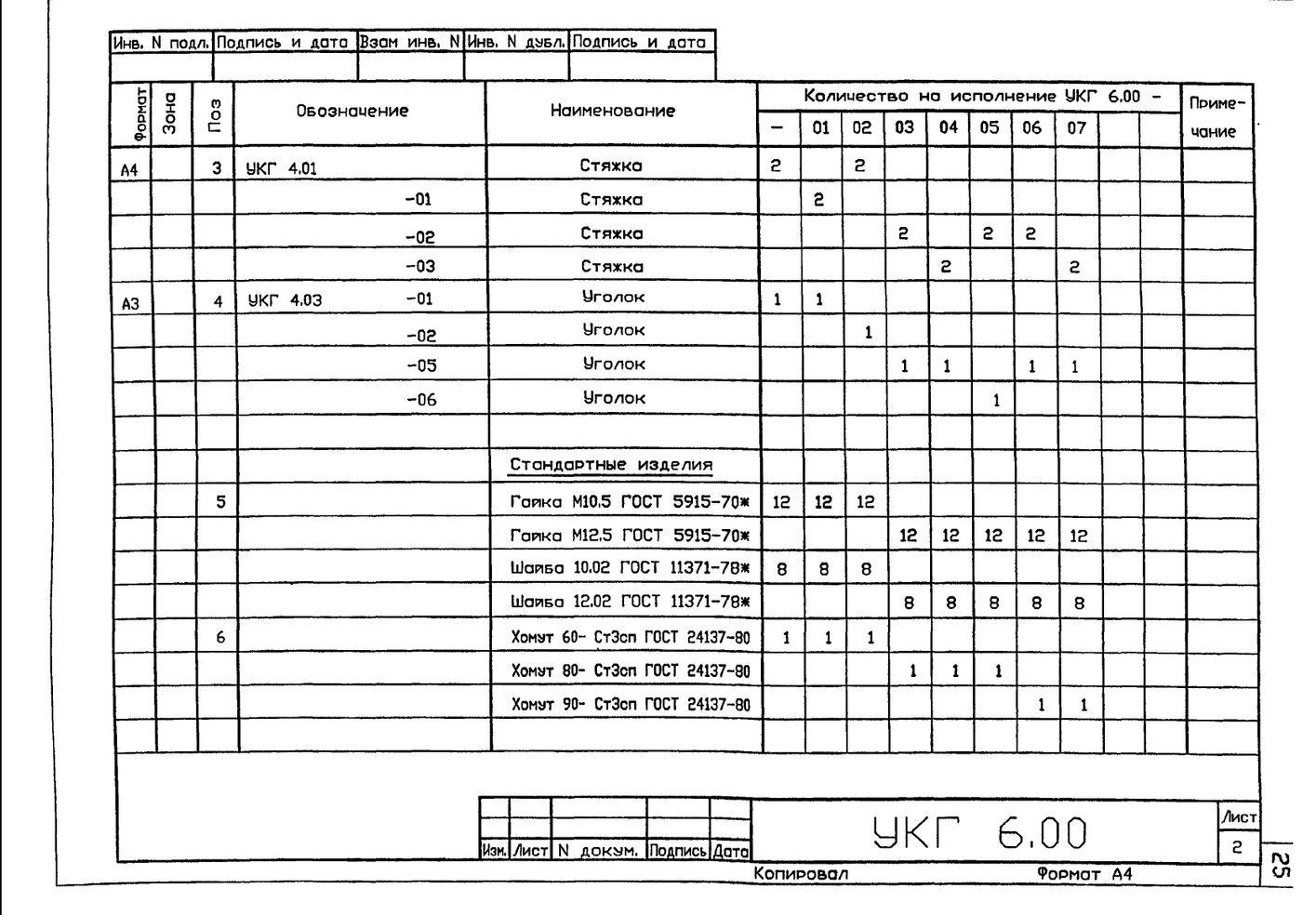 Крепление вертикального газопровода Ду 50...500 мм к железобетонной колонне УКГ 6.00 СБ серия 5.905-18.05 выпуск 1 стр.3
