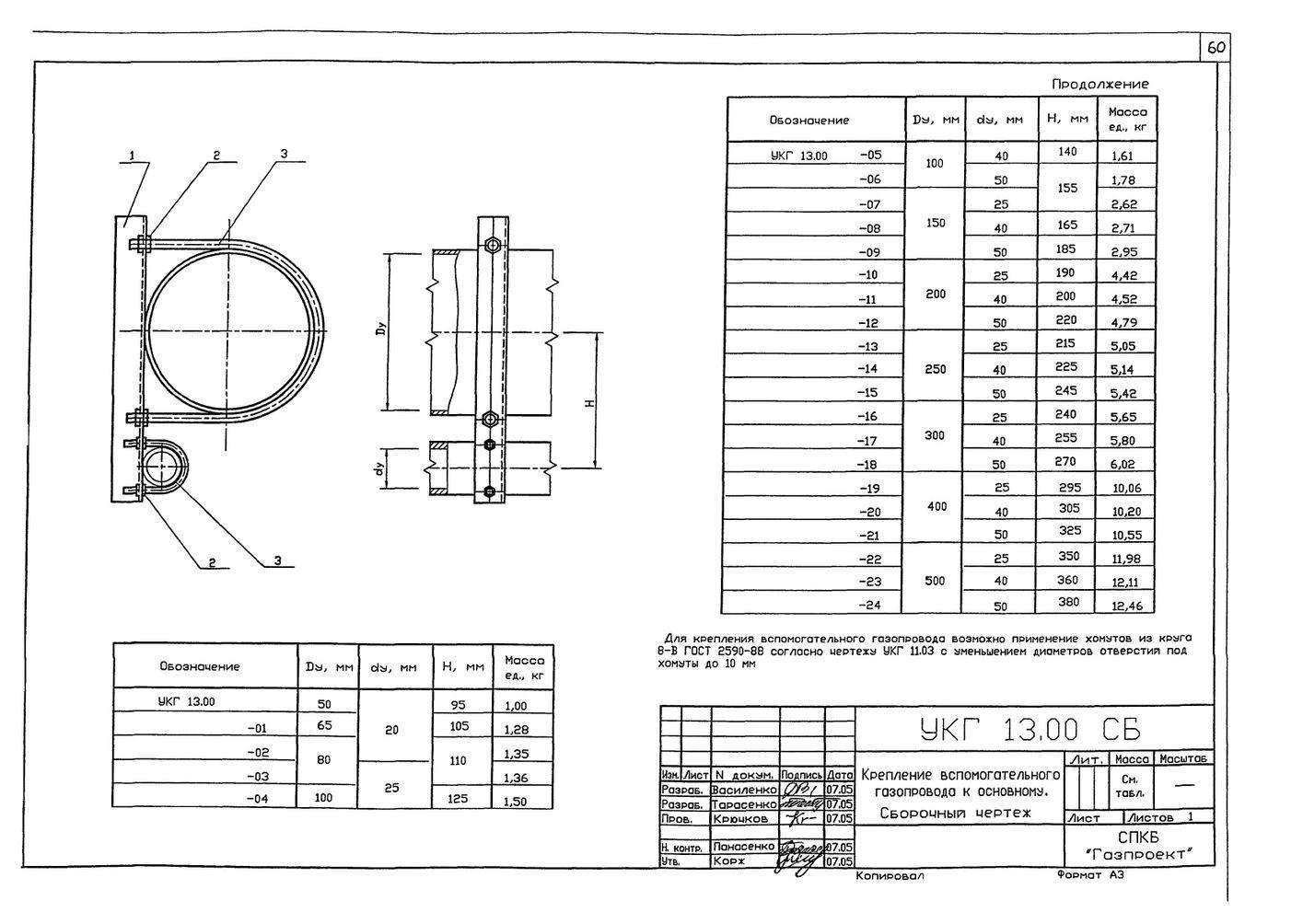 Крепление вспомогательного газопровода к основному УКГ 13.00 СБ серия 5.905-18.05 выпуск 1 стр.1