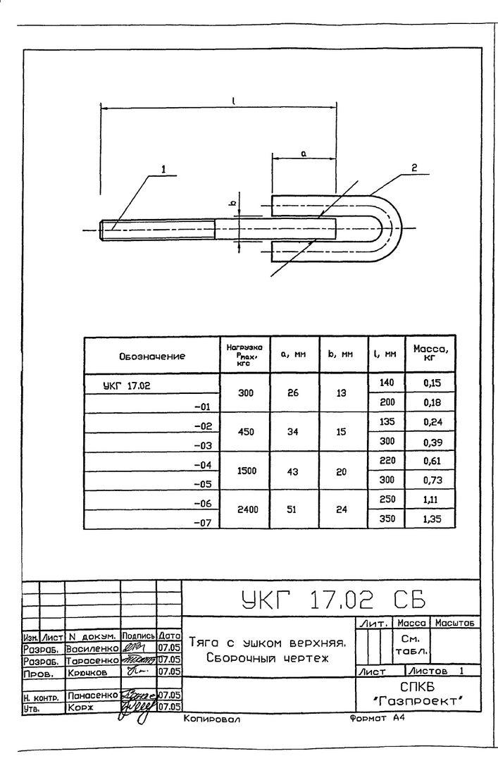 Подвеска с одной тягой, регулируемой гайкой УКГ 17.00 СБ серия 5.905-18.05 выпуск 1 стр.10