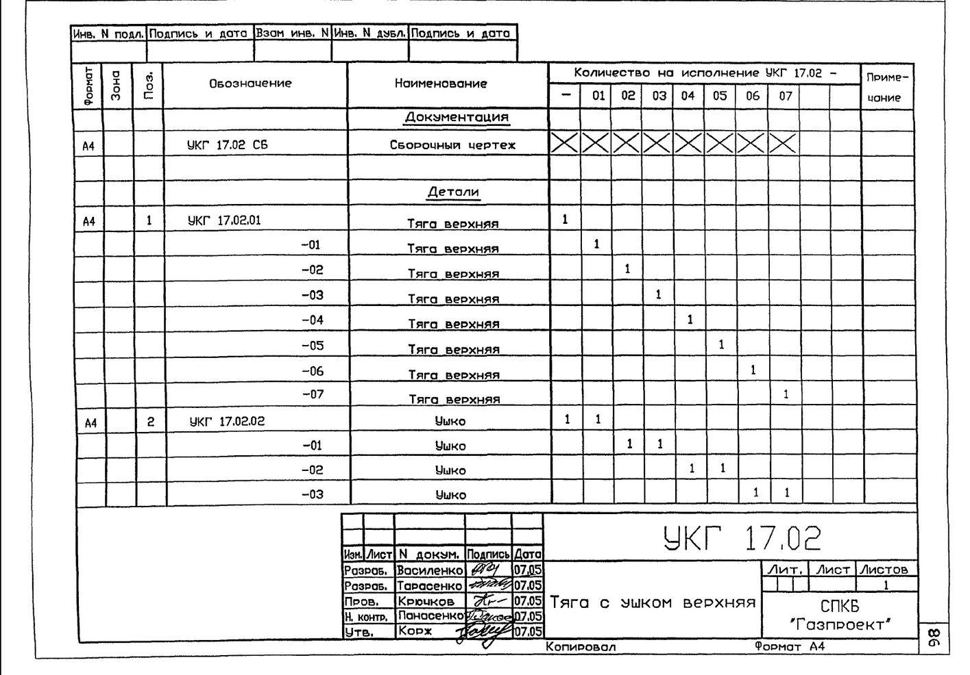 Подвеска с одной тягой, регулируемой гайкой УКГ 17.00 СБ серия 5.905-18.05 выпуск 1 стр.11