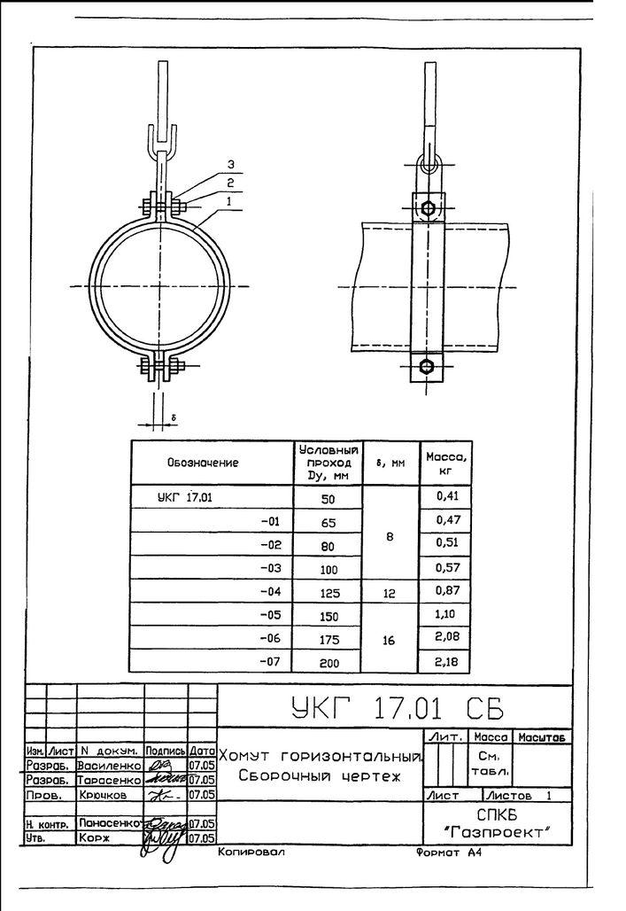 Подвеска с одной тягой, регулируемой гайкой УКГ 17.00 СБ серия 5.905-18.05 выпуск 1 стр.6