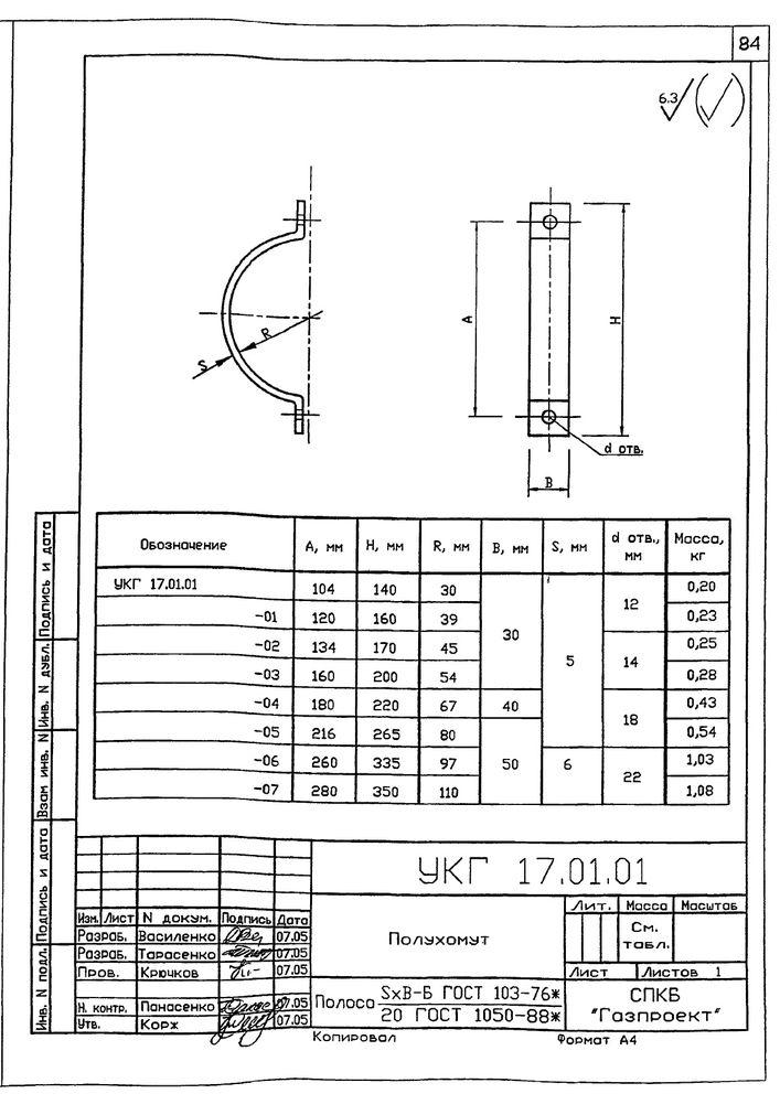 Подвеска с одной тягой, регулируемой гайкой УКГ 17.00 СБ серия 5.905-18.05 выпуск 1 стр.7
