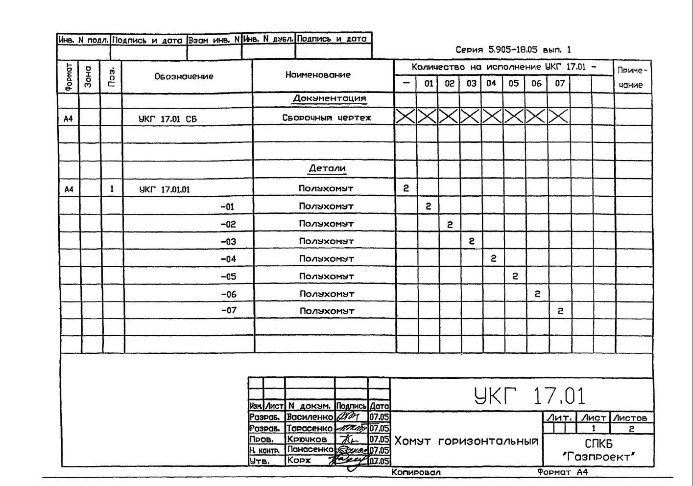 Подвеска с одной тягой, регулируемой гайкой УКГ 17.00 СБ серия 5.905-18.05 выпуск 1 стр.8