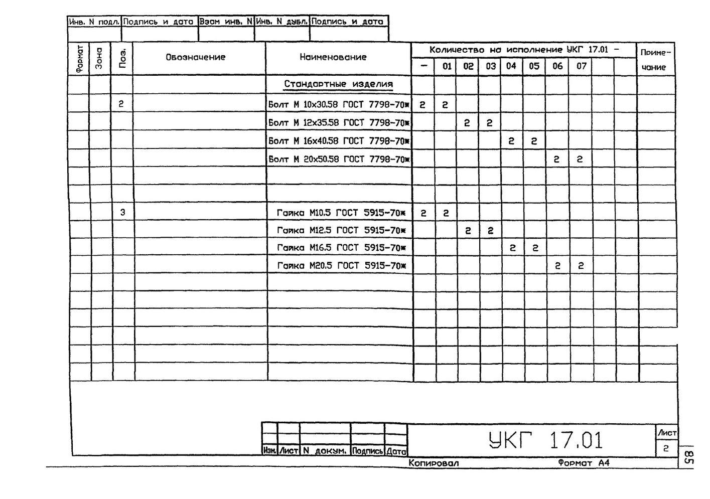 Подвеска с одной тягой, регулируемой гайкой УКГ 17.00 СБ серия 5.905-18.05 выпуск 1 стр.9