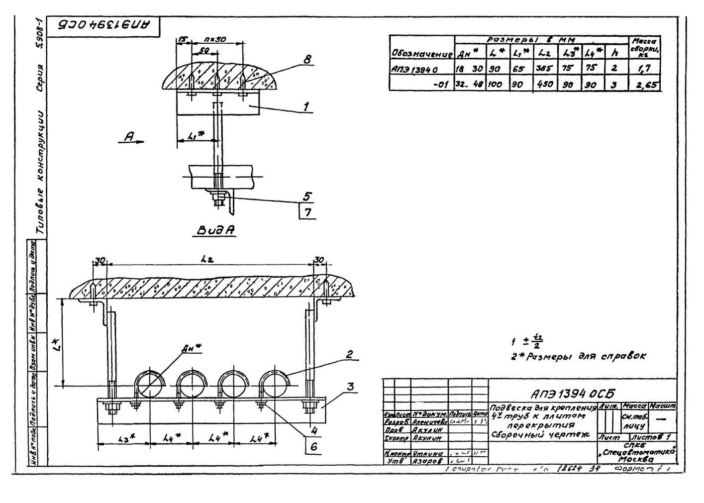 Подвеска для крепления четырех труб к плитам перекрытия АПЭ 1394.0 серия 5.908-1 стр.1