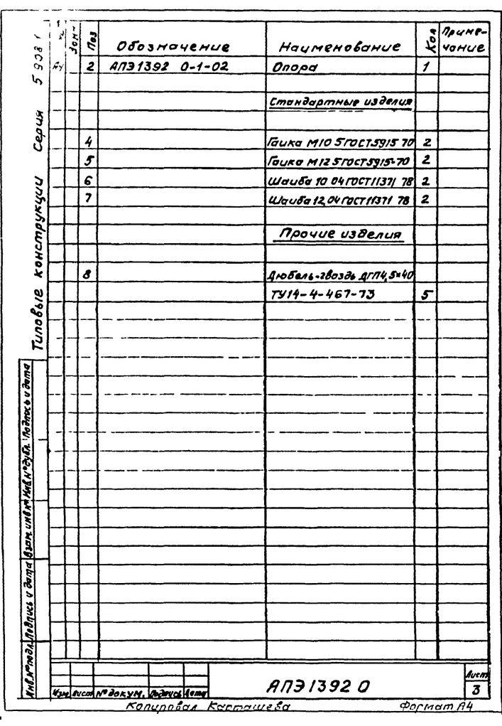 Подвеска для крепления двух труб к плитам перекрытия АПЭ 1392.0 серия 5.908-1 стр.3