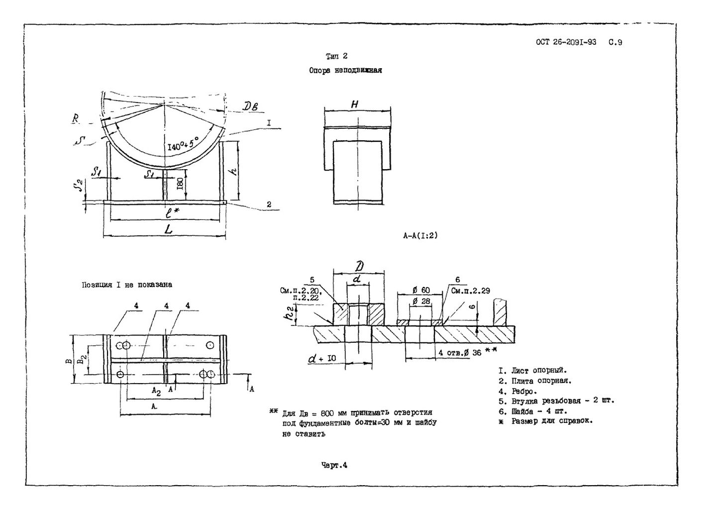Опоры тип 2 ОСТ 26-2091-93 стр.2