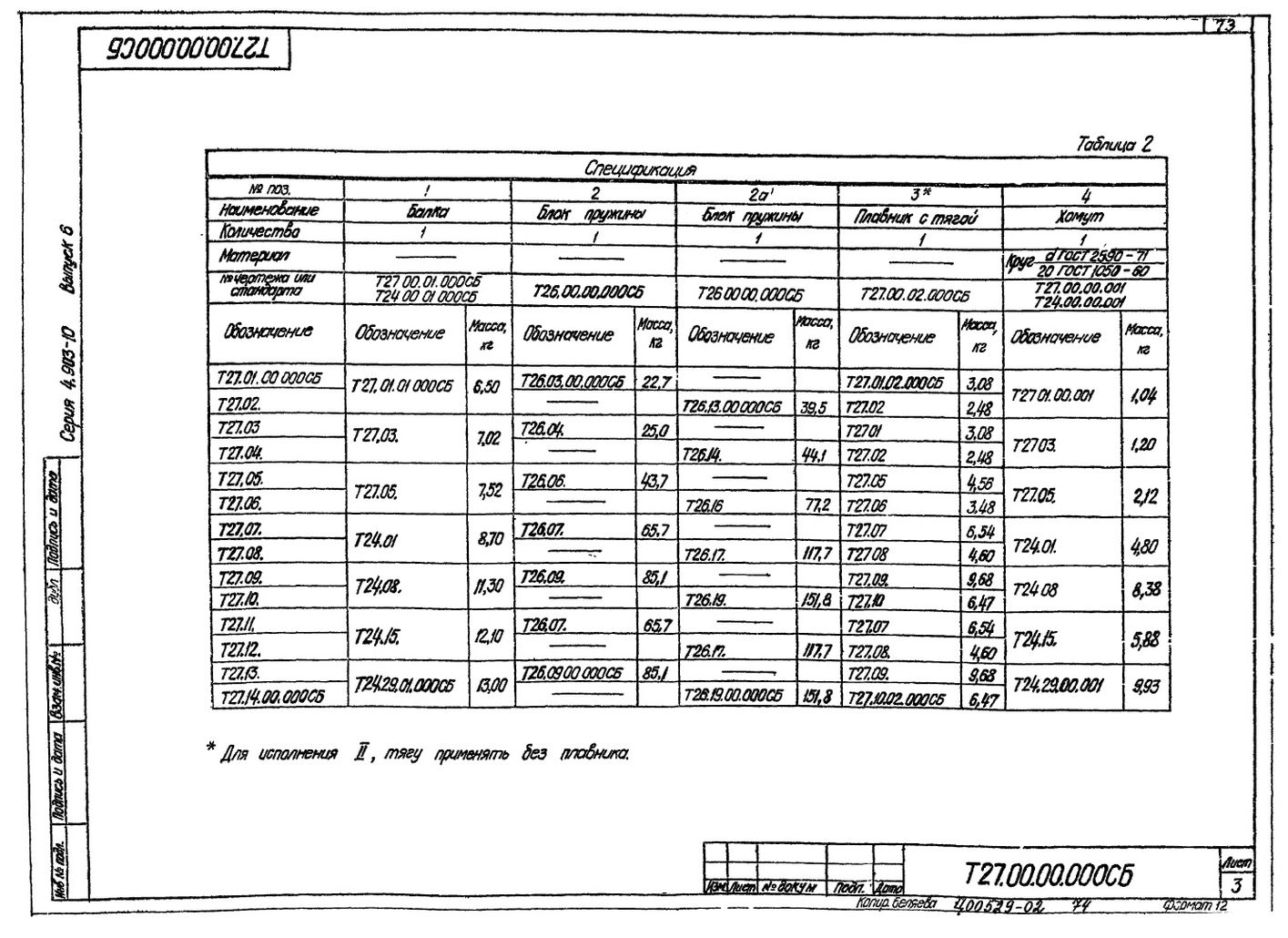 Опора подвесная пружинная Т27 с.4.903-10 вып.6 стр.3