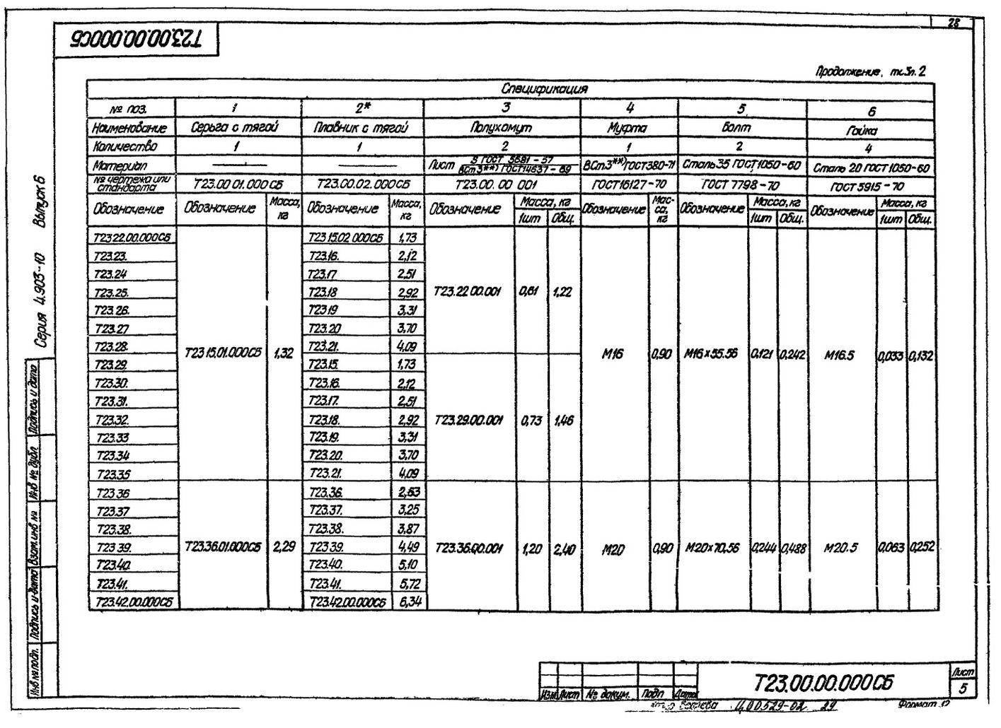 Опора подвижная жесткая Т23 с.4.903-10 вып.6 стр.5